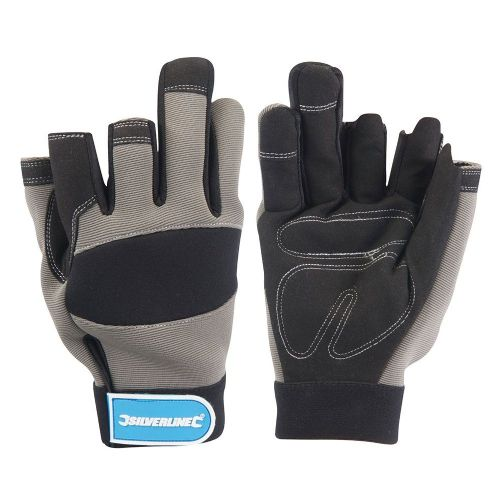 Silverline 282597 Part Fingerless Mechanics Safety Work Gloves Black Large
